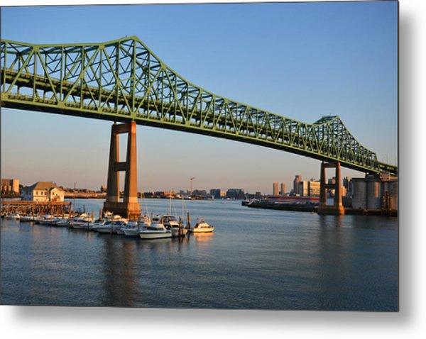 The Tobin Bridge Into The Sunset Chelsea Yacht Club Metal Print