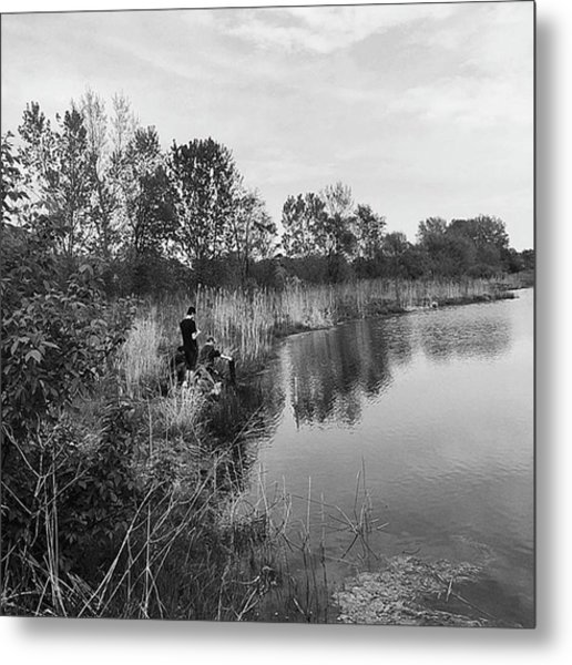 Moving The Water Metal Print