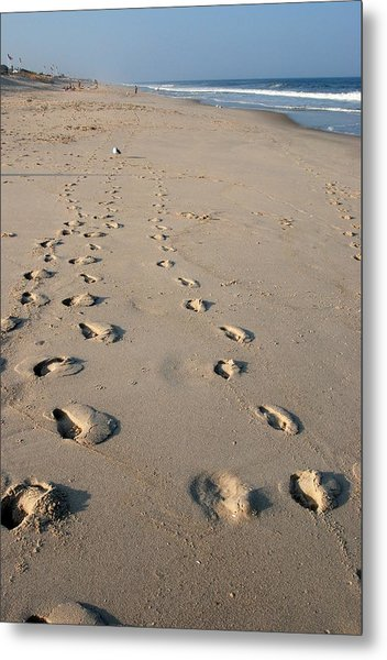 The Trails Of Footprints - Jersey Shore Metal Print