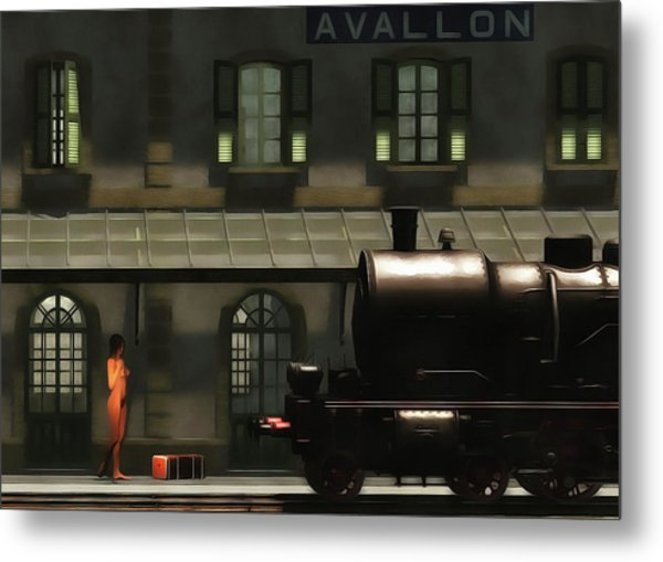 Metal Print featuring the painting The Train In The Morning by Jan Keteleer
