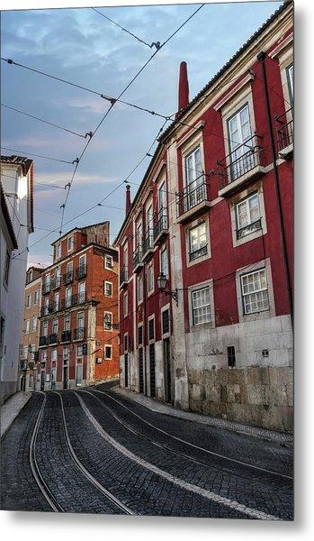 The Tram Stop Lisbon Metal Print