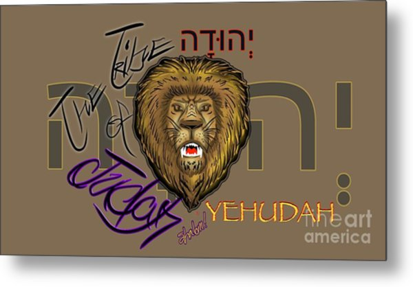 The Tribe Of Judah Hebrew Metal Print