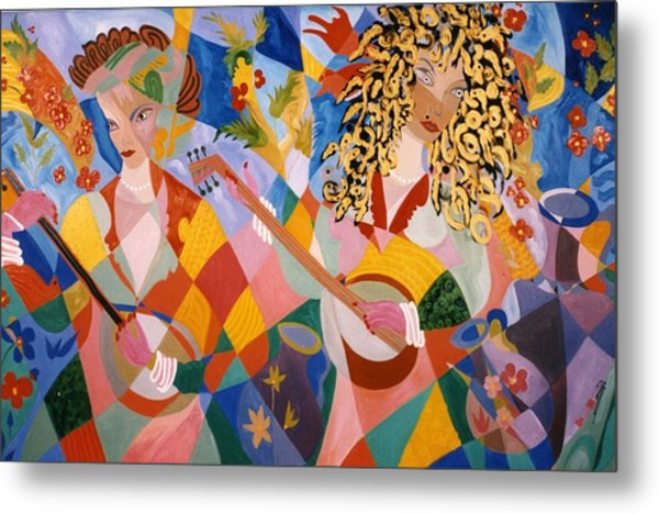 The Two Women Musicians Metal Print
