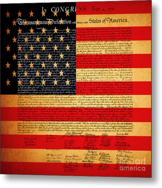 Metal Print featuring the photograph The United States Declaration Of Independence - American Flag - Square by Wingsdomain Art and Photography