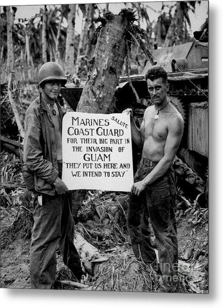 The U.s. Marines Salute The U.s. Coast Metal Print
