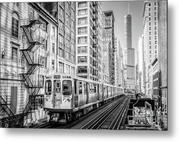 The Wabash L Train In Black And White Metal Print