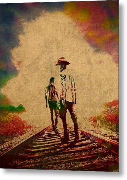The Walking Dead Watercolor Portrait On Worn Distressed Canvas No 3 Metal Print