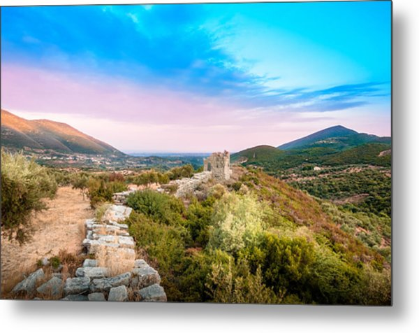The Walls Of Ancient Messene - Greece. Metal Print