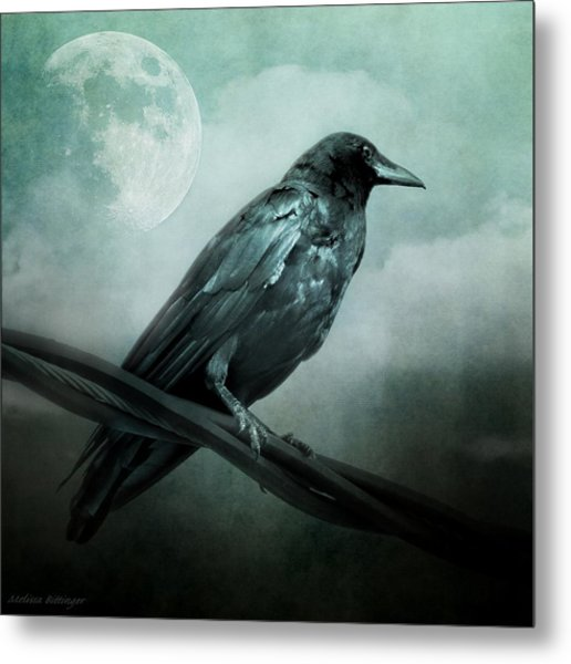 The Watcher Surreal Raven Crow Moon And Clouds Metal Print