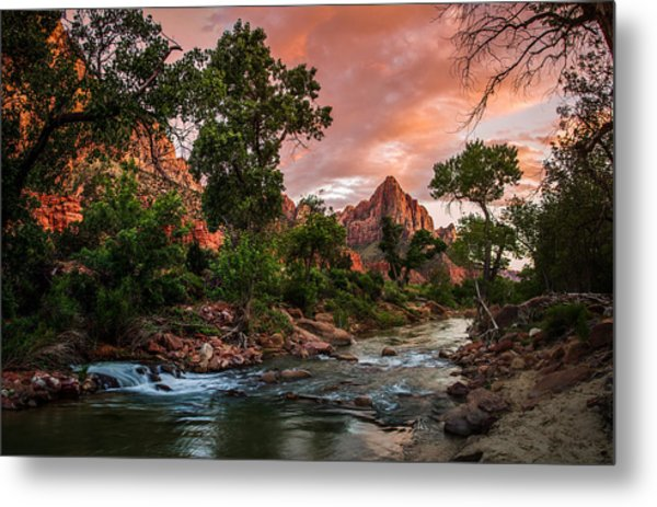The Watchman Sunset Zion National Park Metal Print