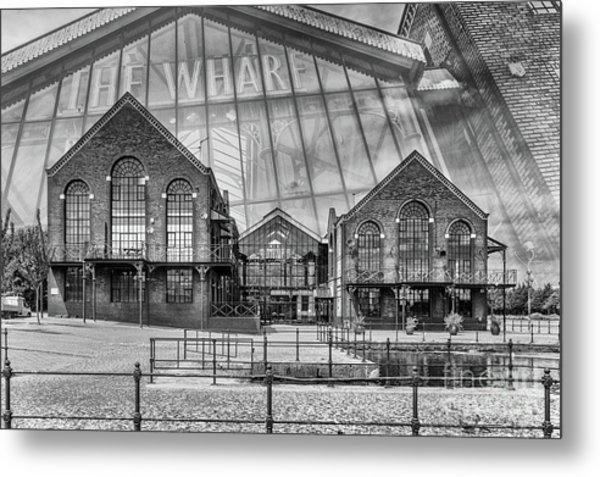 The Wharf Cardiff Bay Mono Metal Print