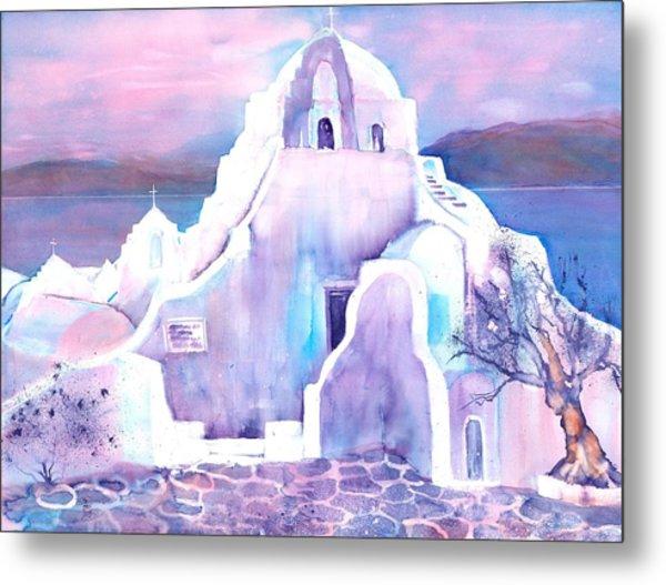 Greece White Church Of Mykonos Metal Print