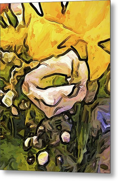 The White Rose With The Eye And Gold Petals Metal Print