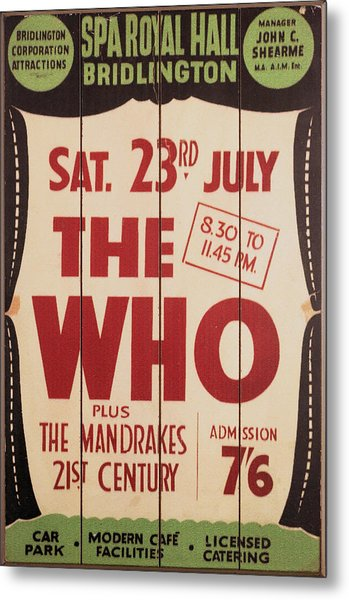 The Who 1966 Tour Poster Metal Print