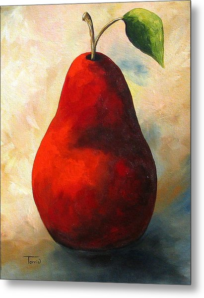 The Wine Red Pear  Metal Print by Torrie Smiley