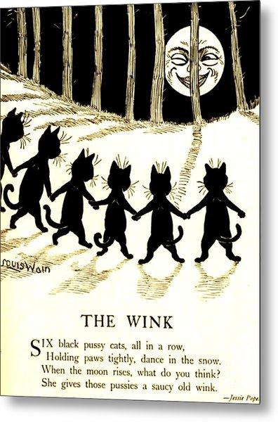 The Wink Six Black Pussy Cats Metal Print