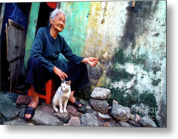 The Woman And The Cat Metal Print