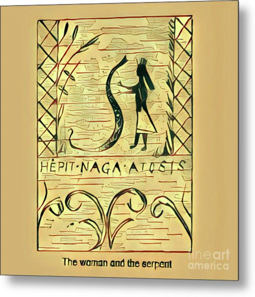 The Woman And The Serpent Metal Print