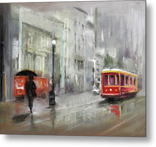 The Woman In The Rain Metal Print