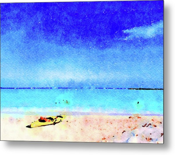 Metal Print featuring the painting The Yellow Kayak by Angela Treat Lyon
