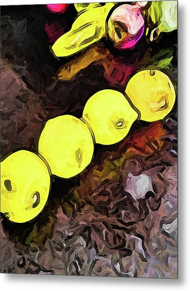 The Yellow Lemons In A Row And The Pink Apple Metal Print