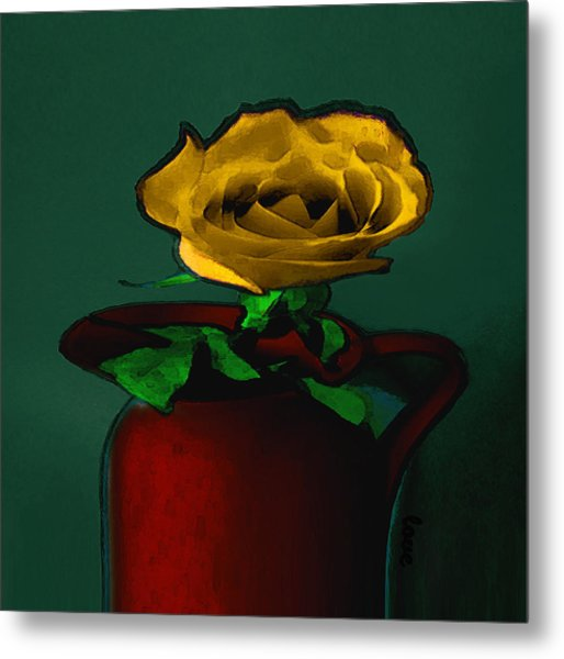The Yellow Rose Painting Metal Print