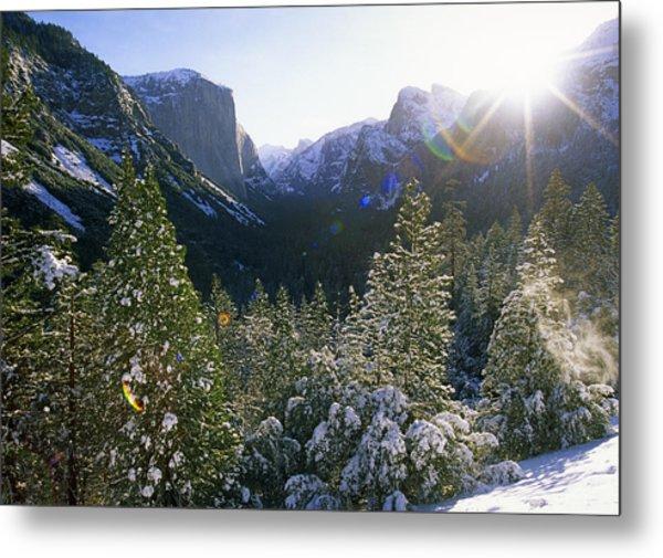 The Yosemite Valley In Winter Metal Print