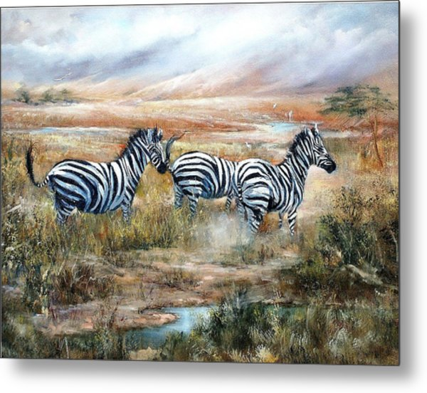Then There Were Three Metal Print by Sally Seago