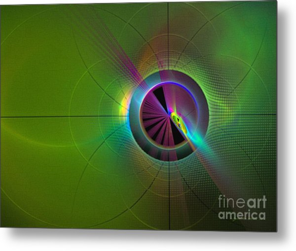 Metal Print featuring the digital art Theory Of Green - Abstract Art by Sipo Liimatainen