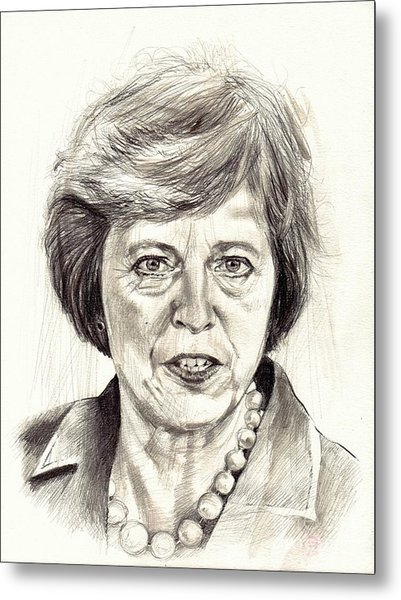Theresa May Portrait Metal Print