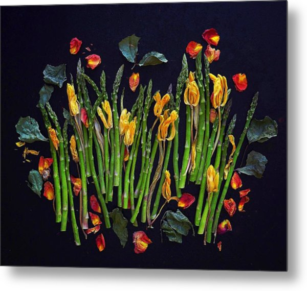 Think Spring Asparagus Metal Print