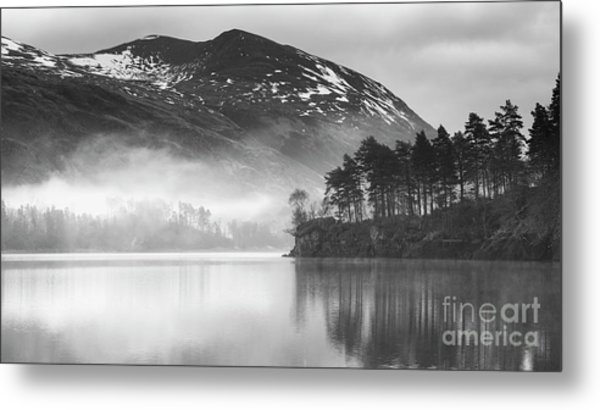 Thirlmere In The Mist Monochrome Metal Print