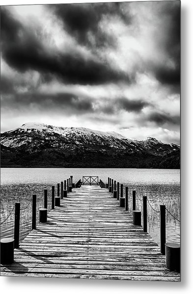 Landscape With Lake And Snowy Mountains In The Argentine Patagonia - Black And White Metal Print
