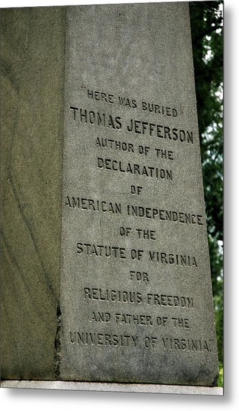 Thomas Jefferson Tombstone Close Up Metal Print