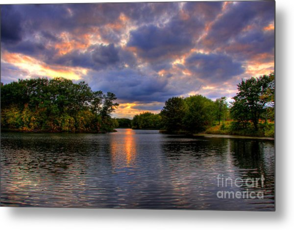 Thomas Lake Park In Eagan On A Glorious Summer Evening Metal Print