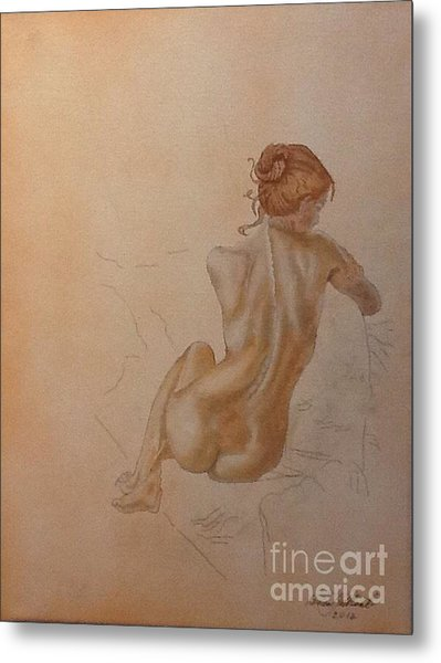 Thoughtful Nude Lady Metal Print