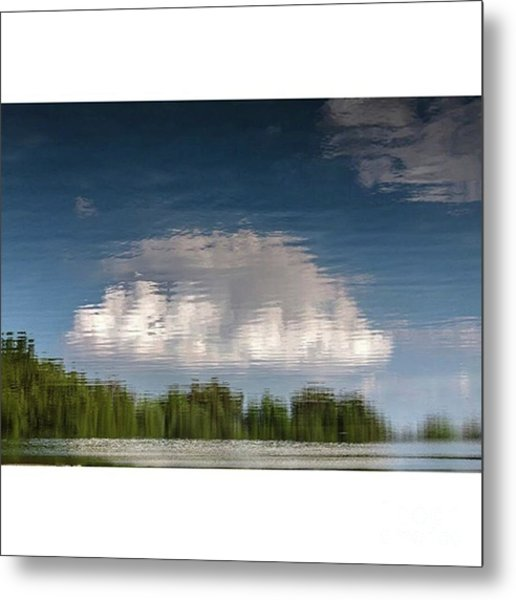 Thought Clouds Reflection In A Lake Metal Print