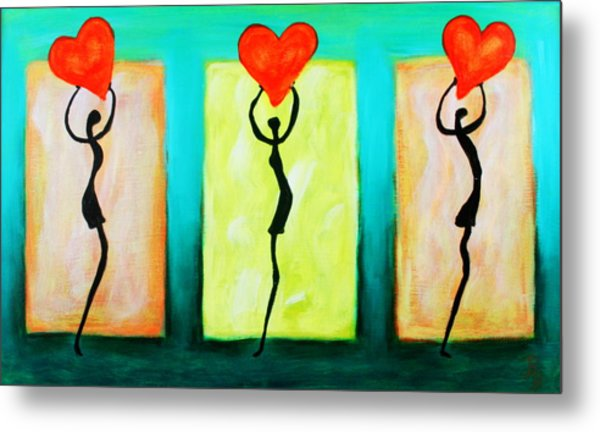 Three Abstract Figures With Hearts Metal Print