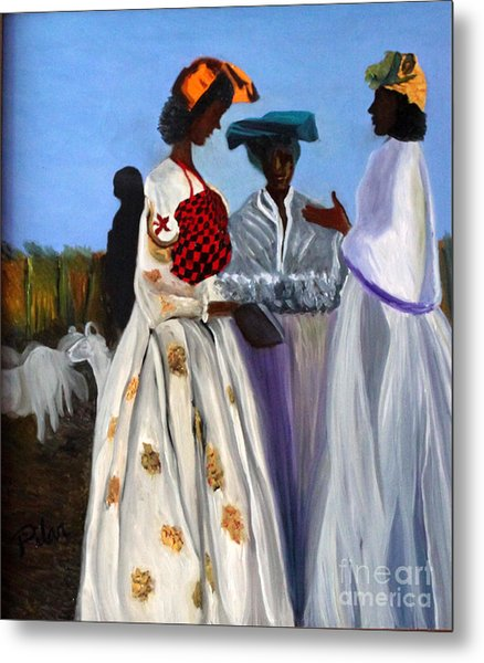 Three African Women Metal Print by Pilar  Martinez-Byrne