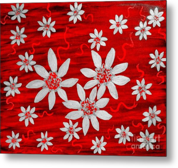 Three And Twenty Flowers On Red Metal Print