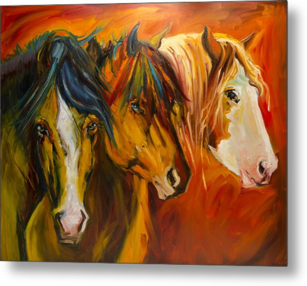 Three At The Fence Line Metal Print
