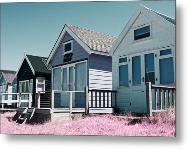 Three Beach Huts Blue Metal Print