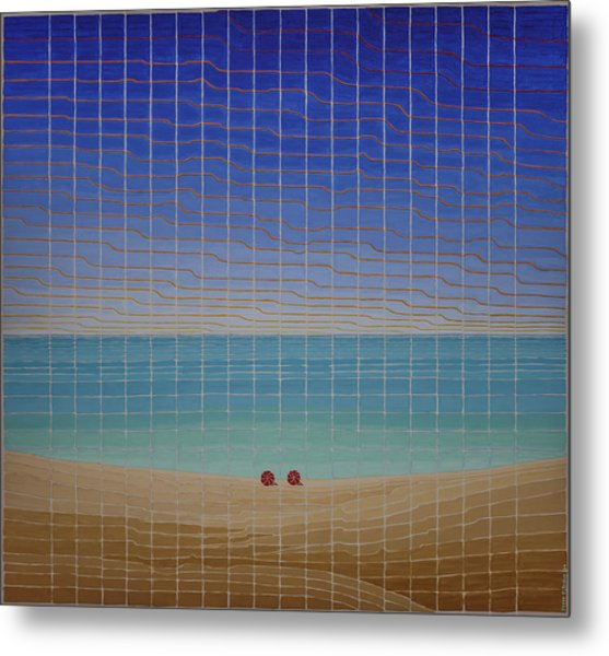 Three Beach Umbrellas Metal Print