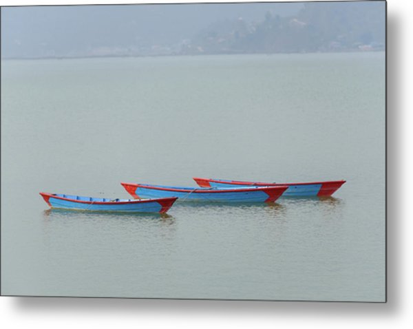 Three Blue Boats On Phewa Lake In Pokhara Metal Print