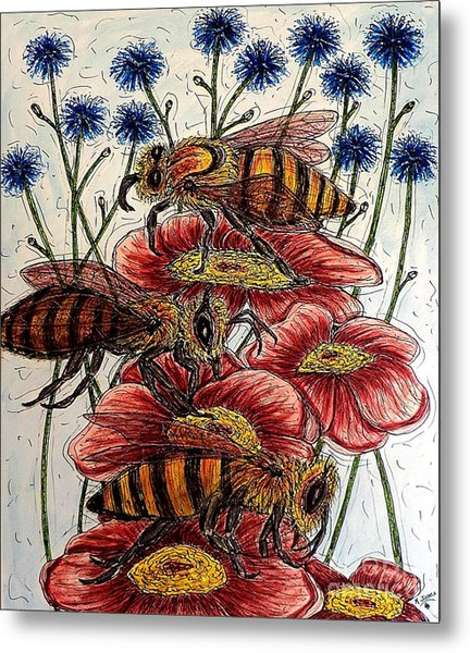 Three Busy Bees Metal Print