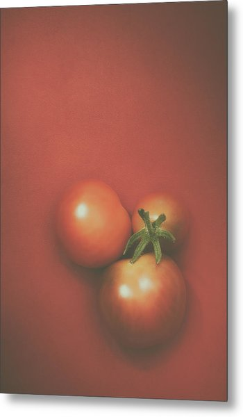Three Cherry Tomatoes Metal Print