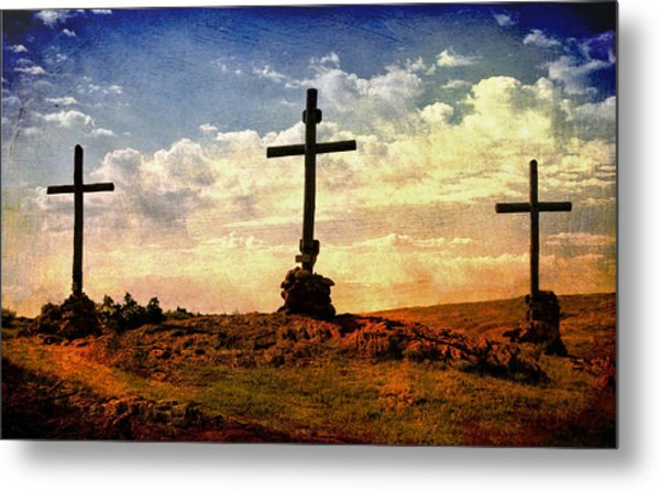 Three Crosses Metal Print
