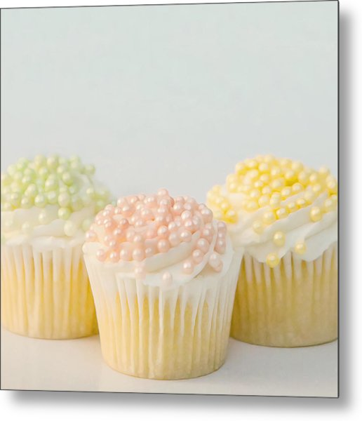 Three Cupcakes Metal Print