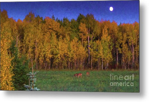 Three Deer And A Moon Metal Print