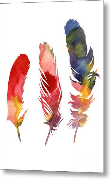 Three Feather Watercolor Poster Metal Print